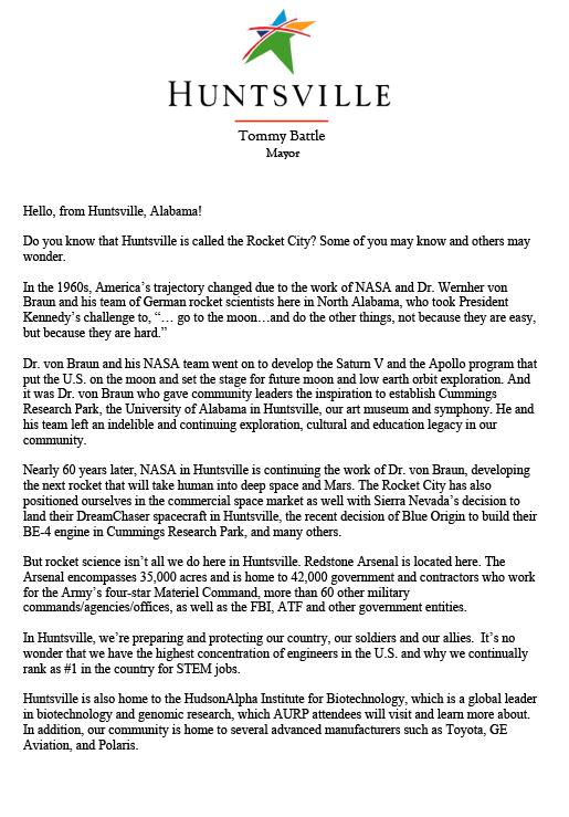 Huntsville Mayor Invites You to Rocket City